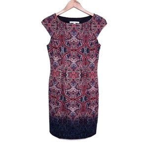 Maggy London Burgundy Red Pattern Shift Dress